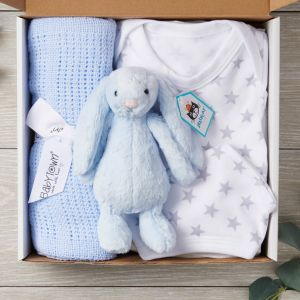 New Baby 4 Piece Designer Letterbox Gift Package in Blue - Free Postage