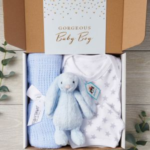 New Baby 4 Piece Designer Letterbox Gift Package & Greeting Card - Free Postage