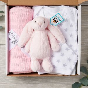 New Baby 4 Piece Designer Letterbox Gift Package in Pink - Free Postage
