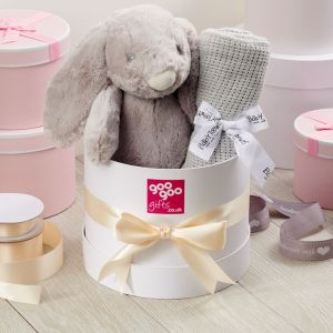 Giant Bunny and 100% Cotton Blanket with Keepsake Gift Box