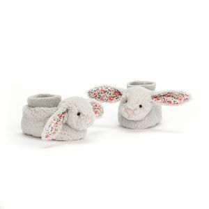 Jellycat Bashful Silver Blossom Bunny Booties in a Gift Box