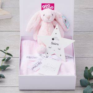 Luxury Bunny and Blanket New Arrival Gift Set with Personalised Nursery Decoration