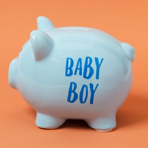 Pennies & Dreams' Funky Ceramic Pig Money Bank - Baby Boy