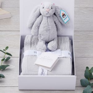 Luxury Silver Bunny and Blanket New Arrival Set in a Keepsake Gift Box