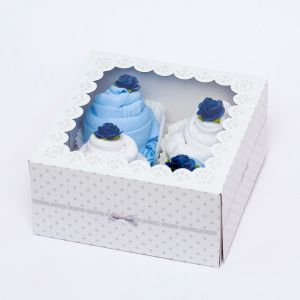Luxury Gift Box of 4 Handmade Bodysuit Cupcakes For Baby Boy