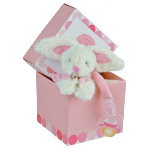 Doudou et Compagnie Bonbon Rabbit Dummy Holder Gift Box in Pink