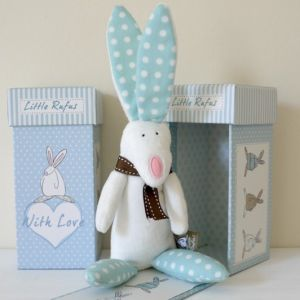 Rufus Rabbit Boy Rabbit Rattle with a Gift Box