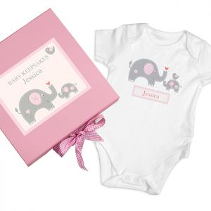 Personalised Pink Baby Elephant Gift Set - Keepsake box and babygro