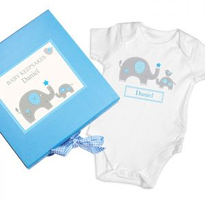 Personalised Blue Baby Elephant Gift Set - Keepsake box and babygro