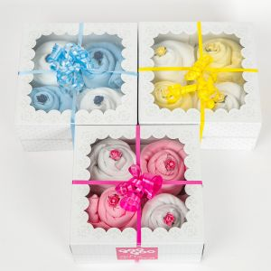 Twins Luxury Gift Box of 4 Handmade Bodysuit Cupcakes - Pink & Blue