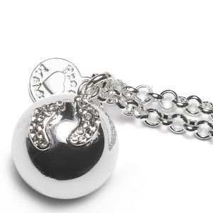 Baby Bell Deluxe Silver Plated Crystal Baby Feet Maternity Gift