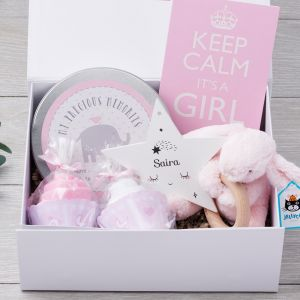 Keep Calm it's a Girl Luxury Gift Box with personalised wooden star