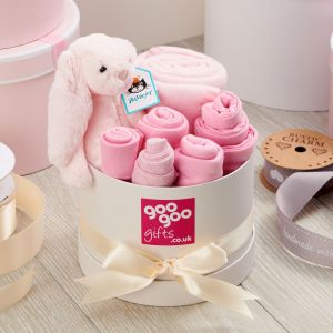Welcome Baby Luxury 7 Piece Gift Box Set in a Keepsake Hatbox in Pink