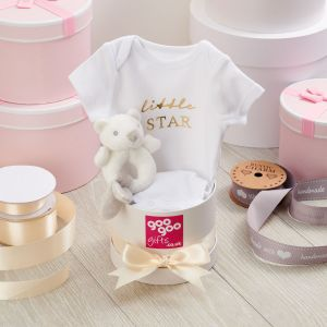 Super Soft Plush Teddy Bear Rattle and 100% Cotton Little Star Bodysuit Baby Shower Gift Box