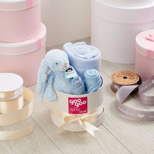 Welcome Baby Luxury 4 Piece Gift Box Set in a Keepsake Hatbox in Blue