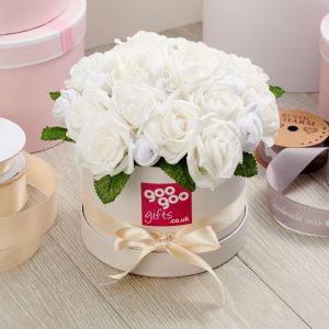 Baby Clothes Bouquet in Classic White in a Luxury Keepsake Hatbox