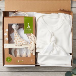 Organic Baby 3 Piece Letterbox Package Gift Set and So Pure Sophie the Girafe Natural Teether