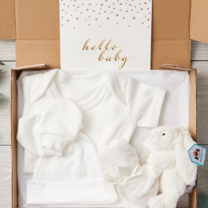 Organic Baby 4 Piece Bunny and Baby Clothes Letterbox Set and Hello Baby Greeting Card