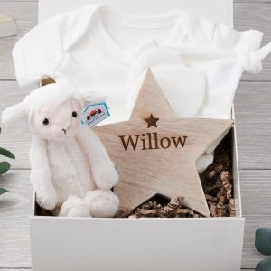 Organic Baby Hamper with Jellycat Lamb and Personalised Nursery Star Decoration