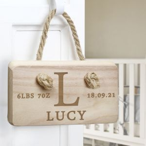 Personalised Initial New Baby Birth Date Wooden Sign
