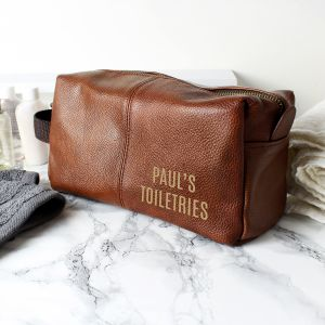 Personalised Luxury Brown Leatherette Wash Bag - Full Name