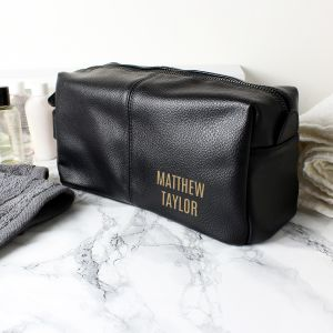 Personalised Luxury Black Leatherette Wash Bag - Full Name