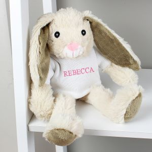 Personalised Name Only Bunny Soft Toy - Pink