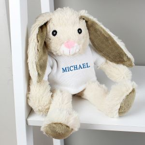 Personalised Name Only Bunny Soft Toy - Blue