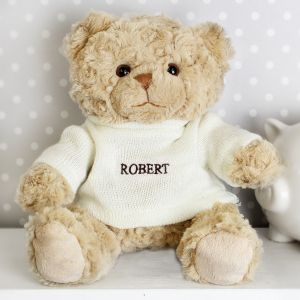 Personalised Super Cute Teddy Bear - Grey Writing