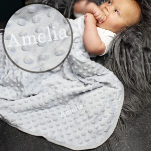 Personalised Luxury Baby Blanket in Lush Grey