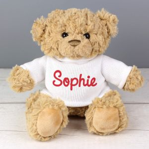 Personalised Super Cute Teddy Bear - Red Writing