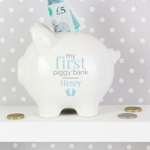 Personalised First Money Box in Blue