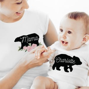 Personalised Mother & Baby Bear T-Shirt And Vest Set (Any names)