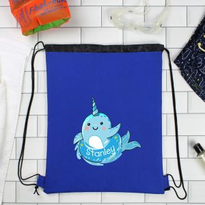 Personalised Narwhal Blue Swim Bag