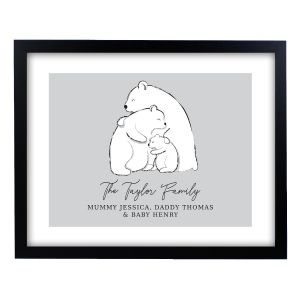 Personalised Polar Bear Family Names Framed Print