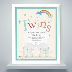 Personalised Twins White Framed Poster Print