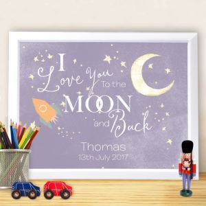 Personalised I Love You to The Moon and Back Framed Print