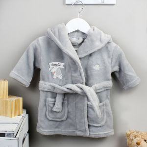 Personalised 0-6 Months Elephant Motif Hooded Baby Dressing Gown