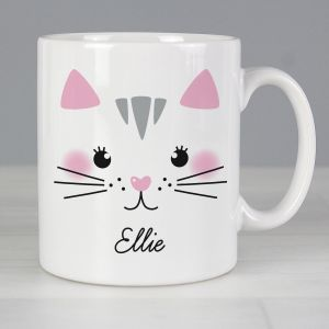 Personalised Cute Cat Face Mug