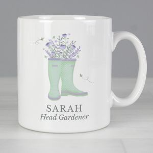 Personalised Floral Wellies Mug