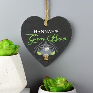 Personalised Gin Bar Slate Heart Decoration