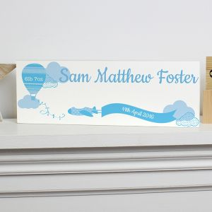 Personalised Wooden Block Sign in Blue
