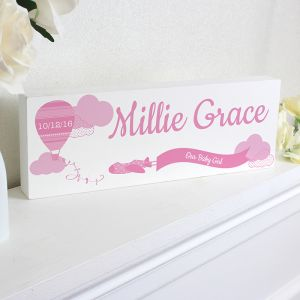 Personalised Wooden Block Sign in Pink