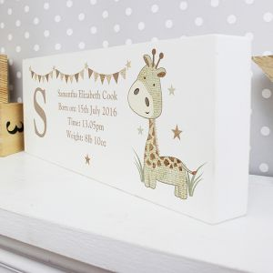Personalised Giraffe Wooden Block Sign