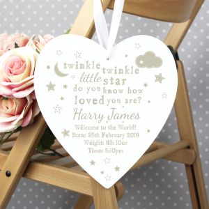Personalised Twinkle Twinkle 22cm Large Wooden Heart Decoration