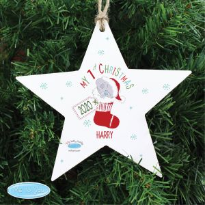 Personalised Tiny Tatty Teddy My 1st Christmas Stocking Wooden Star Decoration1