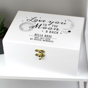 Personalised Love You To The Moon and Back White Wooden Keepsake Box