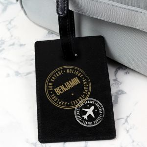 Personalised Stamped Black Luggage Tag