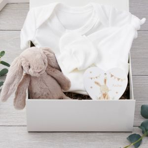 Organic Baby Hamper with Jellycat Bunny and Personalised Nursery Keepsake