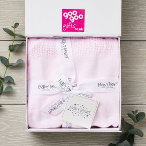 Luxury Pink New Arrival Blanket Gift Set in a Keepsake Gift Box